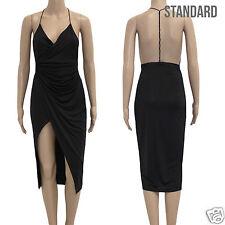 Womens Low Plunge Backless Wrap Drape Bodycon Party Asymmetric Black Dress