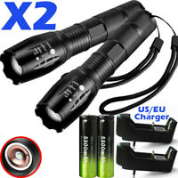 Military 90000LM Tactical T6 Zoomable LED Flashlight Torch 18650 Battery Charger