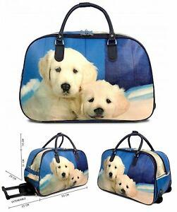 Women's Travel Holdall Weekend Luggage Handbag Wheeled Trolley Puppy Dog Print