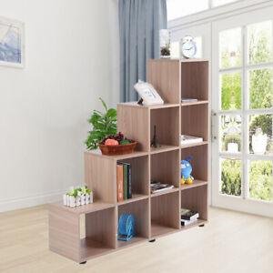 Wall Mountable 10 Oak Cube Wood Bookcase Shelving Display Storage Shelf Office