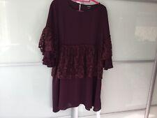 Simply b plum ruffled lace sleeves and waiste tunic/dress size 16 bnwt
