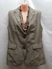 WEEKEND BY MAXMARA TAUPE BUTTONED SEEVELESS COTTON/LINEN JACKET  SIZE 12