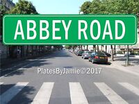 "Abbey Road Beatles Lennon Street Sign Green Background White Text 18"" x 4"" New"