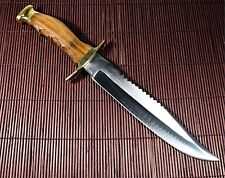 VINTAGE HUNTER BOWIE KNIFE STAINLESS STEEL HANDLE WOOD WITH  SOLID BRASS
