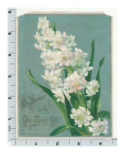 Raphael Tuck and Sons New Years Card - Vintage Ephemera - Pink and White Flowers