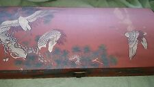 VINTAGE HAND PAINTED WOODEN HAND MADE ASIAN CURVED TOP WOODEN BOX