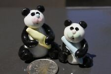Collectibles Panda Ceramic Handmade Miniatures Animals Figurines Two Cute Pandas