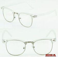 Clubmaster Browline Retro Style Clear Lens Glasses Half Frame Transparent Design