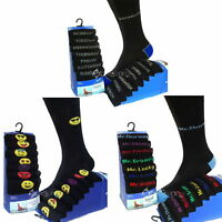 7 Pairs Days of the Week,Mood, Emoji Smiley Novelty Black Cotton Rich Suit Socks