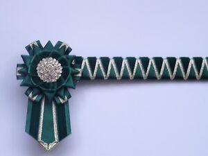 Supreme Green & gold - Cornerstone Browband - showing velvet browband - £25.99