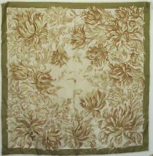 """TERRIART Green-Gold, Brown, Ivory Flower Swirls 29"""" Square Scarf-Vintage"""