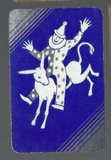 Playing Swap Cards 1 VINT  CLOWN RIDING HIS DONKEY CLEVER!!   DECO   DELUXE  566