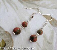 Unakite Bead Ladies Handmade Pierced Dangle Earrings Natural Green Peach Marbled