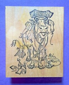 Art Impressions Rubber Stamp Wood Mount U1485 Cow Clothesline Clothes Humor VTG