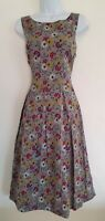 Womens Seasalt Grey Freehand Floral Box Pleat Vintage Style Crepe Dress 8 New.