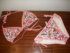 Gap Body sz L Floral reversible red & white stripe string bikini baiting suit