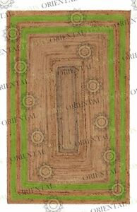 Double Border Green Jute Hand Made Rug, Decor Rug Customize in Any Size..