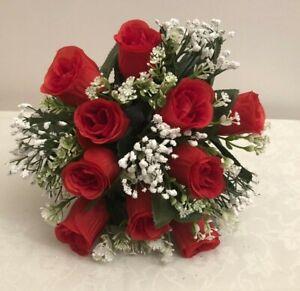 Artificial Silk Flower Arrangement Grave Garden Memorial Red rose Pot weighted