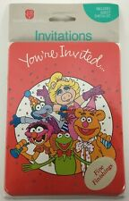 Vtg Muppets 8 Party Invitations Cards w Envelopes American Greetings Sealed NOS