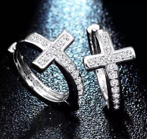 Klapp Creole Kreuz Zirkonia Silber Edelstahl Ohrringe Ohrstecker Cross Silver