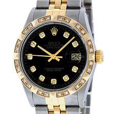 ROLEX DATEJUST MENS 16013 QS S/S AND 18K YELLOW GOLD BLACK PYRAMID DIAMOND WATCH