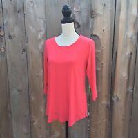 Sympli 8 Nu Ideal Tunic Sid Slit 3/4 Sleeve Hot Pink Jersey Knit Womens READ