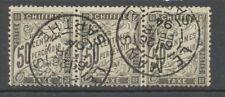FRANCE Taxe bande de 3 N°20 50c noir Obl signé Cote 720€ Extra P1979
