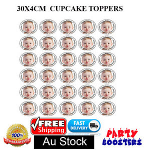 🏅 30 PERSONALISED EDIBLE CUPCAKE TOPPER OWN IMAGE BIRTHDAY Party Baby Gifts Kid