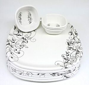 Melamine Dinner Set - 12 Pieces, White & Black