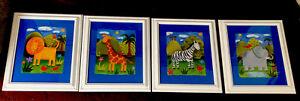 Sophie's Jungle Elephant, Lion, Zebra, Giraffe Nursery Lot Of 4 Framed Prints