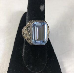 Antique 800 Silver Repousse Setting Large Blue Topaz Ring Estate Auction Wow!