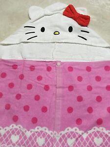 Hello Kitty Bath Beach Towel with Hood 100% Cotton Sanrio Pink Cosplay Kawaii
