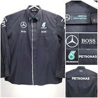 Mercedes AMG Petronas Formula 1 Team Shirt Long Sleeve Button Up Black