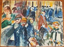 Crowded City Street-Expressionist Modernist Painting-1960s-Israel Louis Winarsky