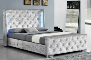Modern Winged Silver Crushed Velvet Bed Frame With LED Double or King Size   BSD
