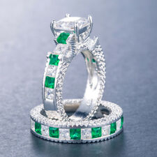 2pcs/set White Sapphire & Emerald 925 Silver Jewelry Women Wedding Ring Size 8