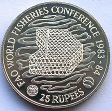 Seychelles 1983 Fisher Conference 25 Rupees Silver Coin,Proof