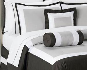 KING - Bed Bath & Beyond - Boulevard Black, Khaki & White SHAM & COMFORTER SET
