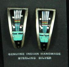 Navajo Earrings Hoop Inlay Turquoise Jet Mother Of Pearl Sterling Silver Indian
