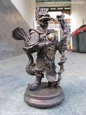 Chinese myth classical Red Bronze carve sea dragon King buddha statue