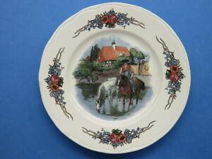 "Antique Sarreguemines Obernai Faienceries 8"" Plate w/ Horseman in Creek by House"
