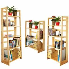 Folding Shelf Unit Wooden Bookcases Storage Rack Stand Natural Rubberwood