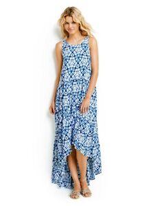 Seafolly Shibori Tiered Maxi Dress Blue & White fits 8-12 Caribbean Ink RRP $250