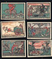 4x Notgeld je 2x  50,75 Pf + 1 M Gemeinde KNEITLINGEN Eulenspiegel-Serie 1921