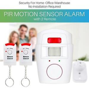 PIR Motion Sensor Wireless Alarm With 2 Remote Controls Shed Home Garage Caravan