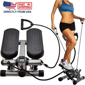 Mini Fitness Air Climber Stair Stepper Aerobic Stepp Machine W/ Resistance Bands