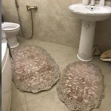 NEW FURRY SOFT DESIGN 3PC BATHROOM SET BATH RUG CONTOUR MAT TOILET.
