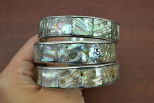 3 PCS ABALONE SHELL STAINLESS STEEL BANGLE BRACELET 3/4