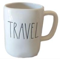 Rae Dunn TRAVEL Large Farmhouse Chic Mug Cup White Cream NEW