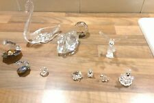 A COMPLETE SET OF BEAUTIFUL CRYSTAL ORNAMENTS INCLUDING SWAROVSKI SWAN